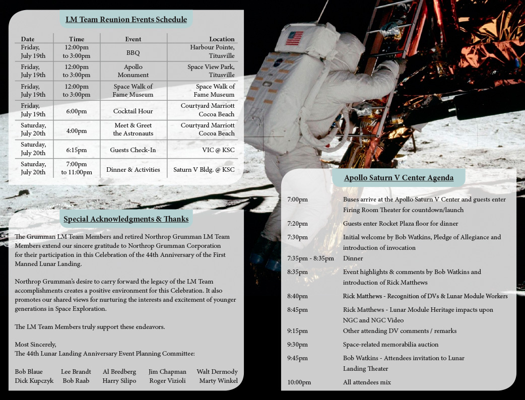 Northrop Grumman - Lunar Module Team Reunion Program - Interior Spread