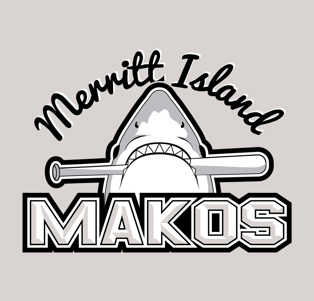 Merritt Island Makos - Logo (Grayscale)