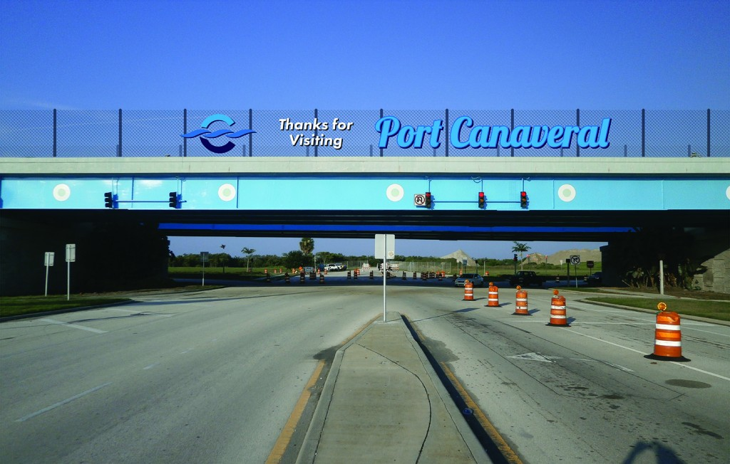 Canaveral Port Authority - Overpass Signage - Site 1 - Design 1, Leaving