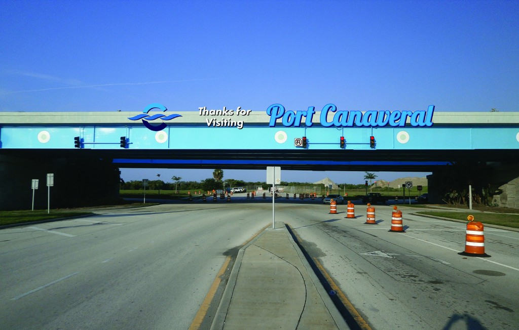 Canaveral Port Authority - Overpass Signage - Site 1 - Design 3, Leaving