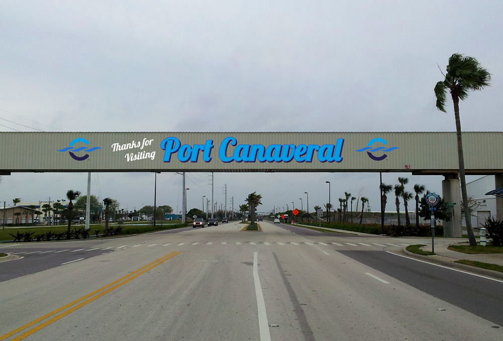 Canaveral Port Authority - Overpass Signage - Site 2 - Design 1, Leaving