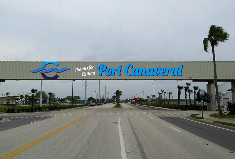 Canaveral Port Authority - Overpass Signage - Site 2 - Design 2, Leaving