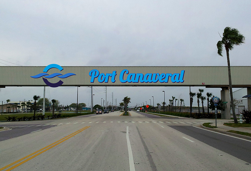 Canaveral Port Authority - Overpass Signage - Site 2 - Design 3, Leaving