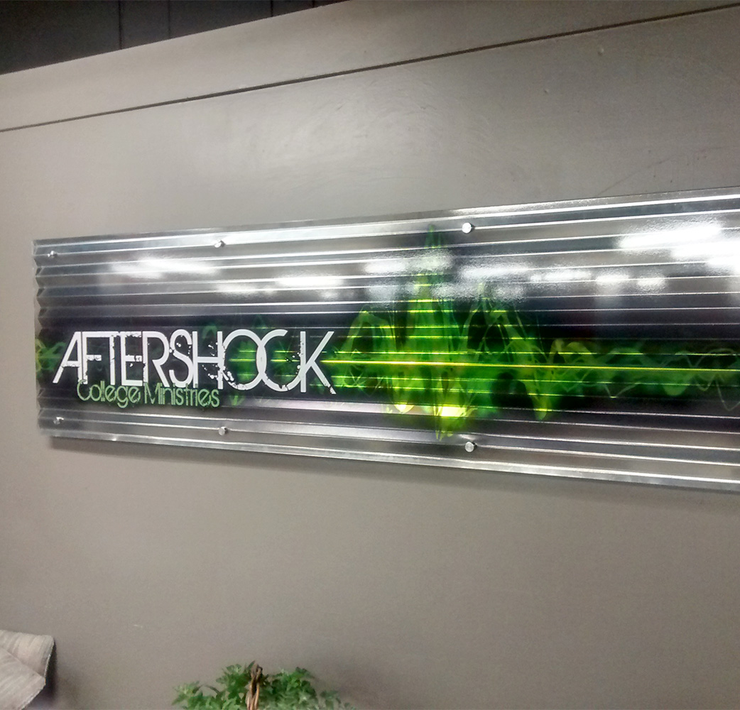 Aftershock College Ministries - Indoor Sign - Detail